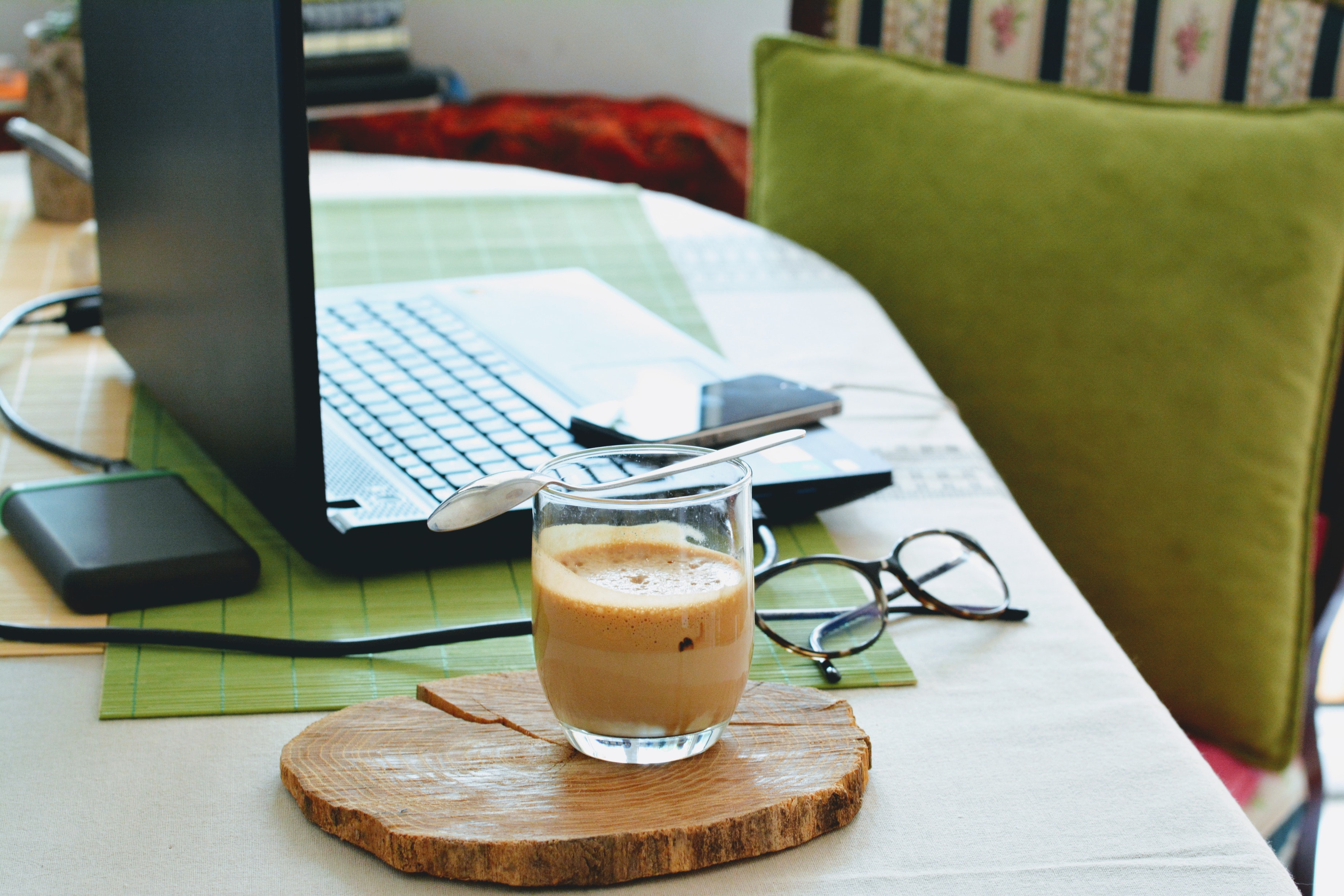 study table with coffee